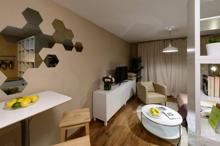 28m2-es kis lakótelepi panelllakás berendezése Ikea bútorokkal, alacsony költségvetéssel | RU.LES Architects | fotók: Peter Čintalan