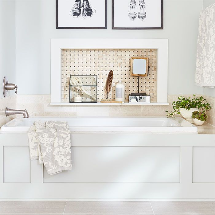 Update A Dated Bathroom With Stylish Vanity And Fixture Choices And Give Your Tub Alcove