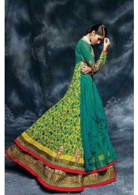 Green Soft Net Anarkali Suit, -Rs. 6,529.00, #AnarkaliOnline #SuitFashion #BollywoodFashion #Shopkund