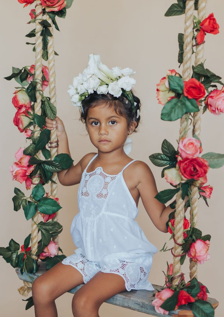 The 'princessa' embroidered cotton playsuit from the Floral Frida collection | arum lily flower crown