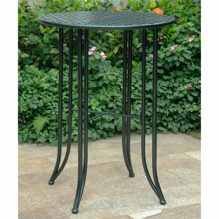 International Caravan Mandalay Outdoor Iron Bar-height Table (Hammered Verdi Gris), Green, Patio Furniture