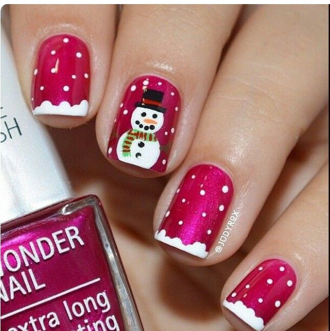 Holiday snowman nails