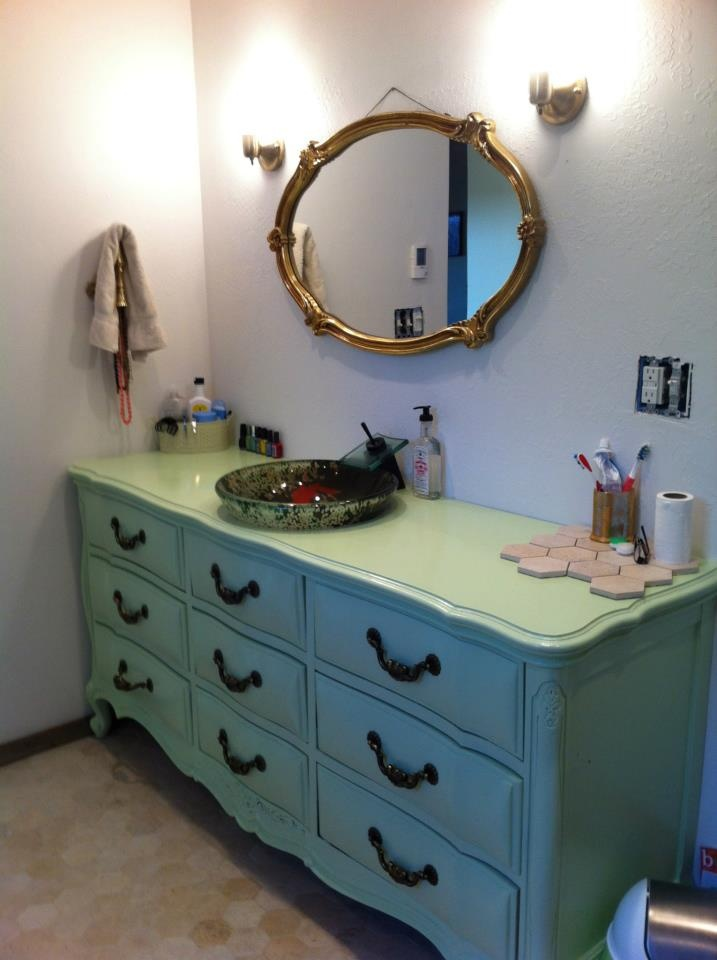 Restored An Old Dresser To A New Bathroom Vanity Seafoam