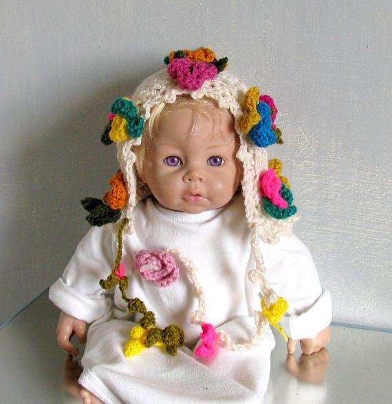 Baby Hat Newborn Girl Beanie with Flower Floral Garden Bonnet