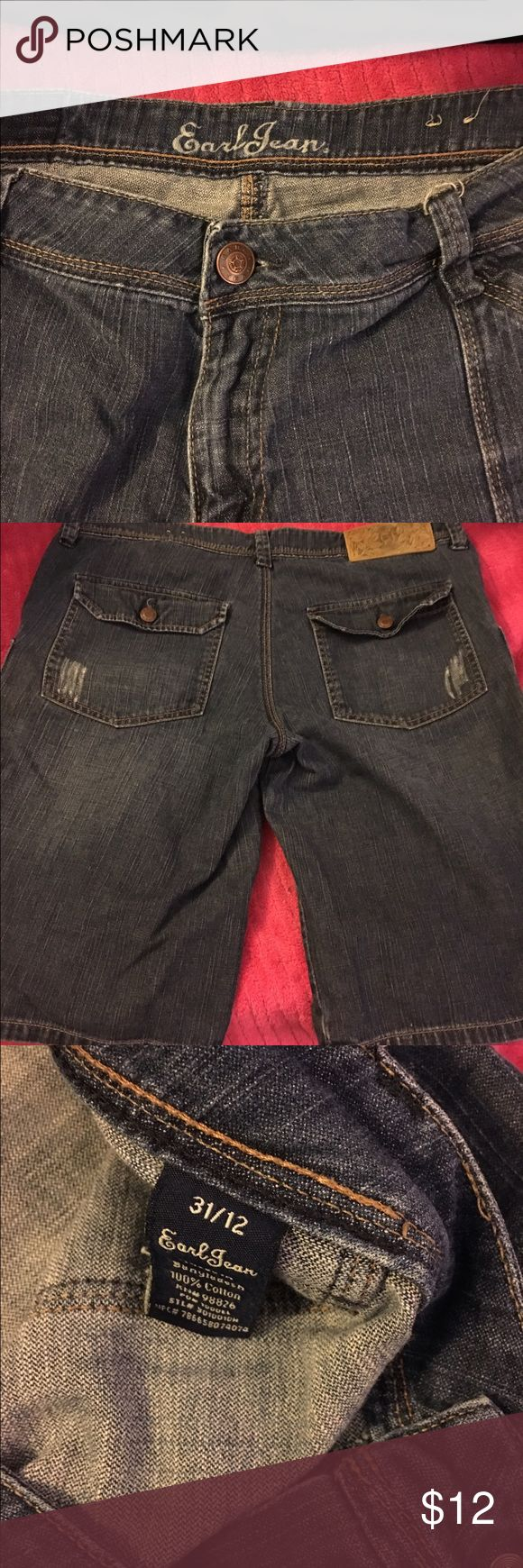 Ladies Earl Bermuda Jean shorts size 12 Ladies Earl Bermuda Jean shorts size 12. Gently used condition. Medium factory faded denim. Stretch for comfort. Smoke free home. Thanks for the interest and God Bless Earl Jeans Shorts Jean Shorts