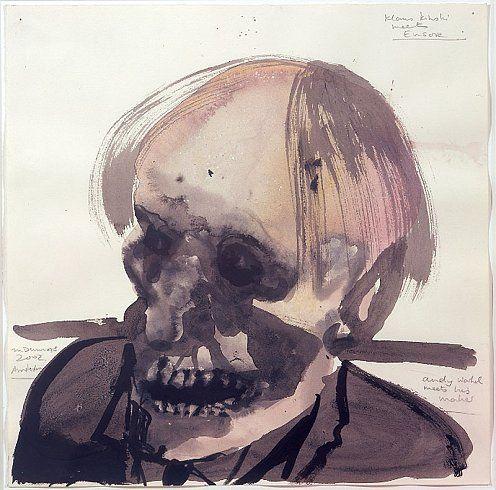 Marlene Dumas, Klaus Kinski meets Ensor, Andy Warhol meets his maker, 2002, watercolor on paper