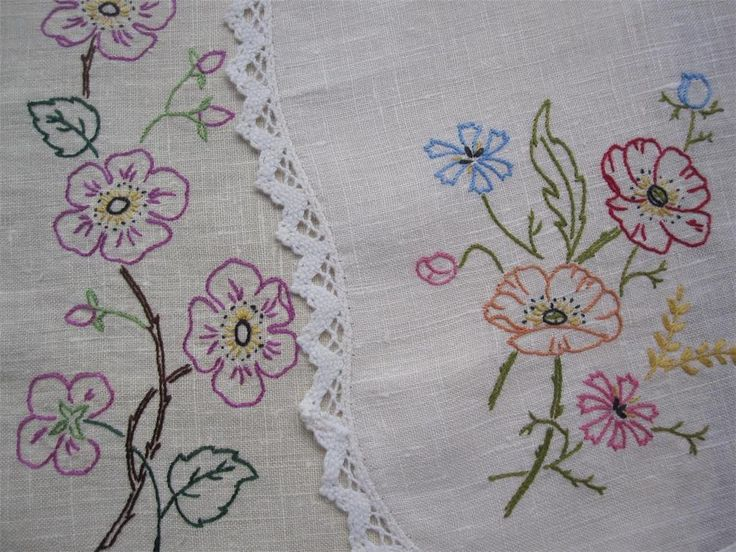 Two Large Vintage Hand Embroidered/Crochet Edge DOILIES Never Used