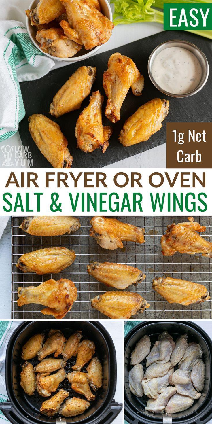 air fryer chicken wings with salt vinegar in 2020 air fryer dinner recipes air fryer recipes keto health dinner recipes pinterest