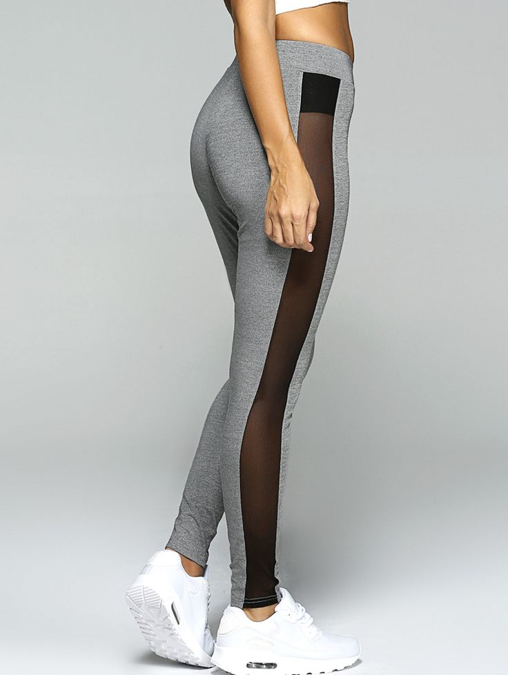 Only $15.20 for Gauze Skinny Sport Leggings GRAY: Active Bottoms | ZAFUL