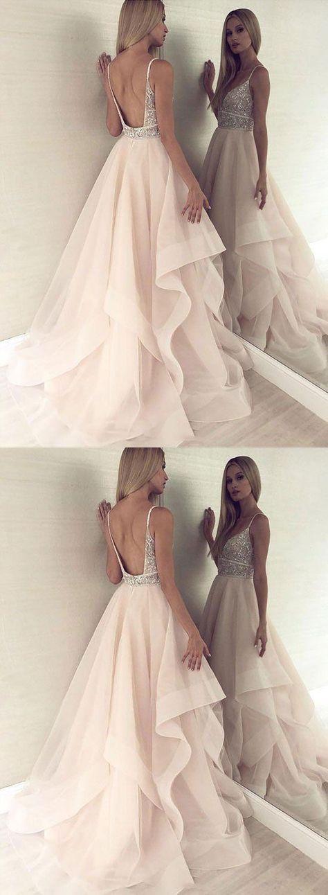 Champagner V-Ausschnitt Tüll Perlen langes Abendkleid, Abendkleid