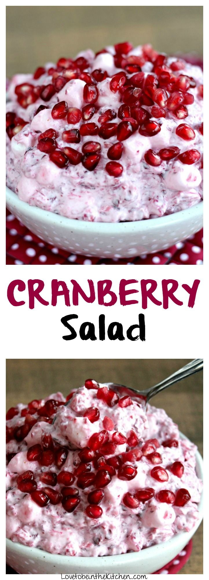 The best Cranberry Salad! Always a hit at holiday parties! A sweet, tart and creamy side dish. Made with fresh cranberries mixed with crushed pineapple and mini marshmallows with freshly whipped cream mixed in. Pomegranate seeds are garnished on top giving it a little crunch and juiciness. It's heavenly!