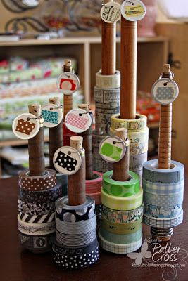 washi tape collection - love how they separated the tape by color.  Could do it by collections as well.