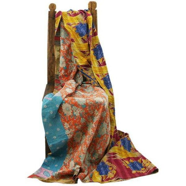Vintage Orange & Yellow Kantha Quilt ($85) ❤ liked on Polyvore featuring home, bed & bath, bedding, quilts, sari bedding, vintage bedding, yellow bedding, orange bedding and vintage bed linen