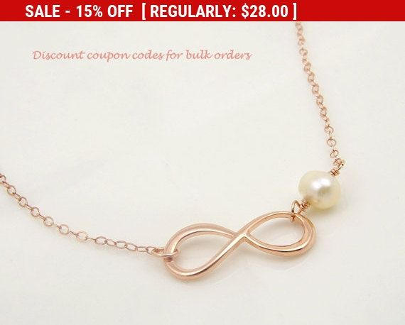 Freshwater Pearl Necklace, Rose Gold Jewelry, Infinity Necklace, Bridesmaid Gift Idea, Best Friends Gifts for Sister Gifts for Friends