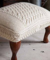 Knit Decor - Knitting Daily - Knitting Daily GORGEOUS!!!! CABLED FOOTSTOOL FROM…