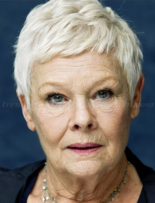short hairstyles over 50, hairstyles over 60 - Judi Dench short pixie haircut