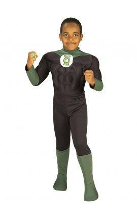 disfraz de linterna verde musculoso dc comics para nio