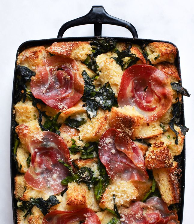 A Decadent Savory Bread Pudding with Parmesan and Bacon for Weekend Brunch - Bon Appétit