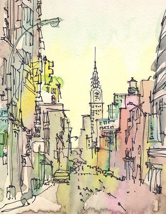 New York zu skizzieren, Chrysler Building, New York City - Druck aus einer original Aquarell-Skizze  Diese Skizze erfasst Chrysler Building an einem dunstigen Sommermorgen in New York. Einem wunderschönen Art-Deco-Gebäude, und mein absoluter Lieblings-Hochhaus in der Stadt. Ich skizzierte diese nachschlagen Lexington Avenue einen frühen Sommermorgen. Diese urbane Landschaft wurde im frühen Morgenlicht, in rosa, grün und Zitrone Gelb getaucht. Es war ein sehr ruhiger Morgen für New Yorker…