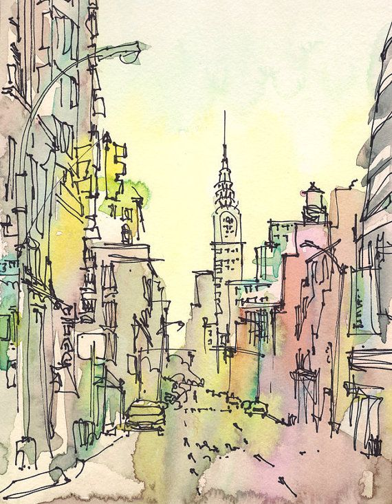 New York Sketch, Chrysler Building, New York City - 8x10 print from an original watercolor sketch