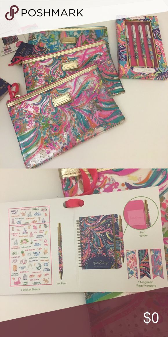 🌴🌴🌴FREE LILLY PULITZER GIFTS🌴🌴🌴 FREE  Lilly Pulitzer Gift with the Purchase of $50 or more of Lilly Pulitzer Clothing (while Supply Lasts).  Box of 4 Lilly Pulitzer Pens Or Lilly Pulitzer Agenda Bonus Pack Includes 2 Sticker Sheets, ink pen, pen holder and 3 Magnetic page Keepers.  Pouch can be used as Makeup Case! Lilly Pulitzer Accessories