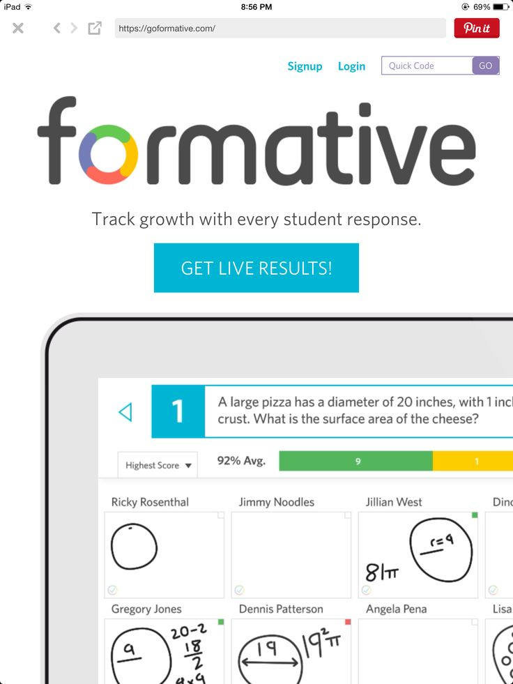 GoFormative:  FREE Web based formative assessments -upload PDFs, Google or Word docs, or create your own online. Insert multiple choice, text boxes, drawn response, photos right into the document.