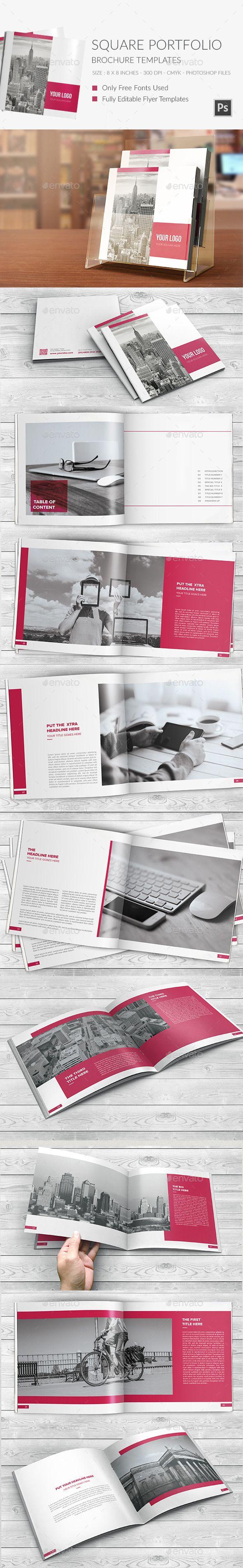 Square Portfolio Brochure Template #print #design Download: http://graphicriver.net/item/square-portfolio-brochure-template/12041279?ref=ksioks