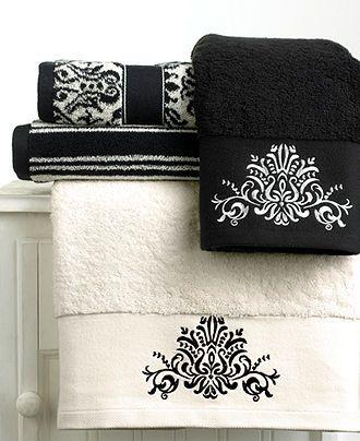 "Bianca ""Black and White"" Hand Towel, 16"" x 28"" - Bath Towels - Bed & Bath - Macy's"