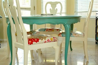 DIY kitchen set. I love this concept and the colors.