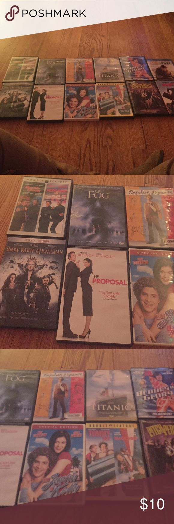 DVD set Some are new and unopened others are like new. Includes dear john, fun with dick and Jane, pitch perfect, blades of glory, titanic, Justin and Kelly, Tommy boy, black sheep, napoleons dynamite the fog, the proposal, snow White and huntsman , rush hour, rush hour 2 Accessories