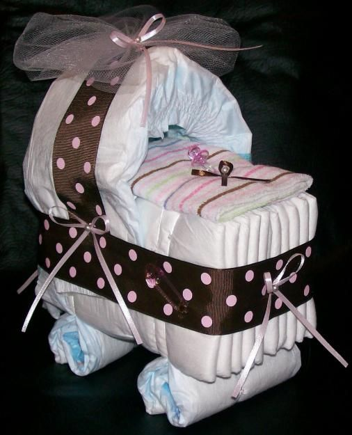 New spin on diaper cake - Diaper cake carriage