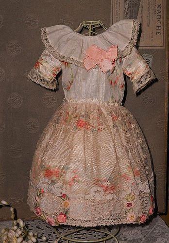 Very Beautiful Original Antique Silk Dress with Ribbon-Work Decoration - WhenDreamsComeTrue #dollshopsunited