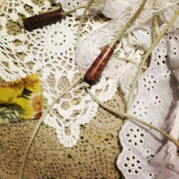 Vintage crochet, lace, leather and fabric in these components for a decadently romantic bag by rethread the earth x
