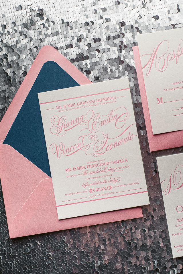 GIANNA Suite // STYLED // Romantic Styled Package | Just Invite Me, This Way to Fabulous, Inc. Schaumburg, Illinois Wedding Invitations, letterpress wedding invitations, pink and navy wedding, formal wedding invitations, elegant wedding invitations, calligraphy wedding invitations, mixed font wedding invitations, http://justinviteme.com/collections/styled-collections/products/gianna-suite-styled-romantic-package