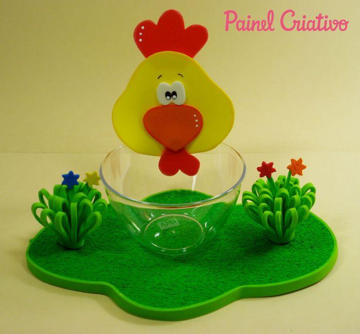 Como fazer enfeite de mesa EVA festa aniversario fazendinha crianças galinha