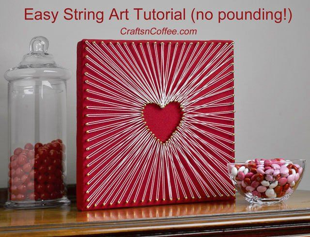 Really -- no pounding, no smashed fingers! Easy way to make string art on CraftsnCoffee.com.