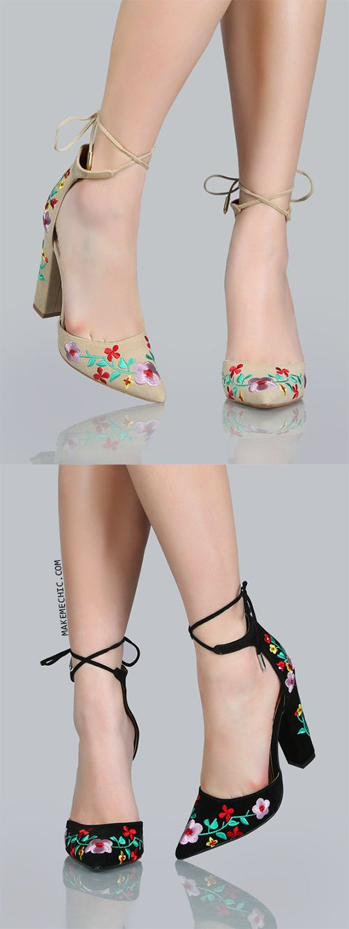 Ankle Tie Floral Embroidered Heels