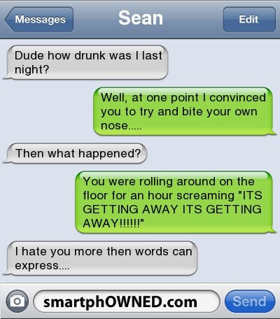 I imagine this being a txt conversation between Eren and Levi. And Eren was the one who was drunk of course