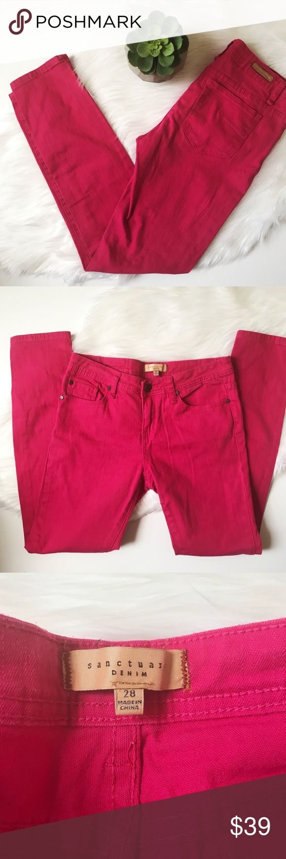 "Anthropologie Sanctuary Hot Pink Skinny Jeans Hot pink fuchsia skinny jeans by Anthro brand Sanctuary. Approximate measurements: Rise 8.5"", inseam 29"". Excellent preowned condition. Adds a pop of color to any outfit and cute for any season! Anthropologie Jeans Skinny"