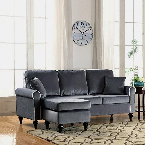 Classic and Traditional Small Space Velvet Sectional Sofa with Reversible Chaise (Grey)  BUY NOW      $175.00      Divano Roma Furniture Presents this small space configurable reversible chaise lounge. Soft velvet upholstery on hardwood fra ..  http://www.homeaccessoriesforus.top/2017/03/02/classic-and-traditional-small-space-velvet-sectional-sofa-with-reversible-chaise-grey/