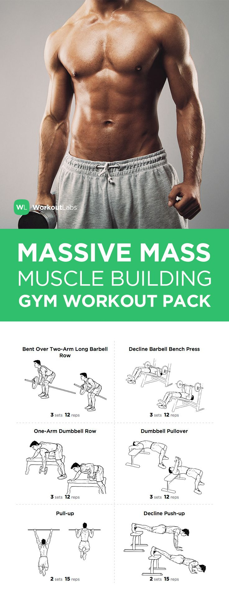Visit WorkoutLabs.com/... to download this Massive Mass Muscle Building Gym Workout Pack for Men More