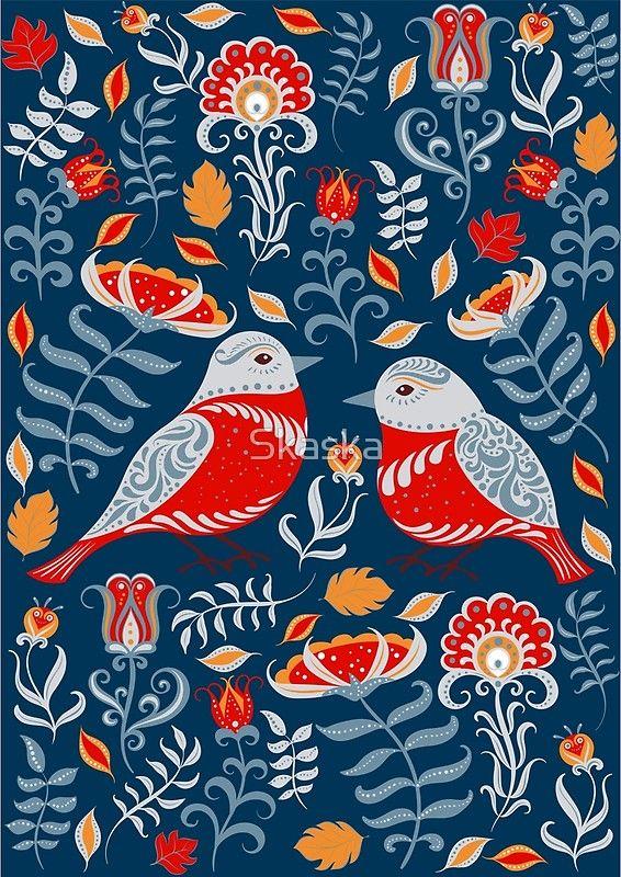 Birds and flowers. Floral ornament. Folk art. Canvas Prints. #folkart #fantasy #scandinavian #bird #print #folklore
