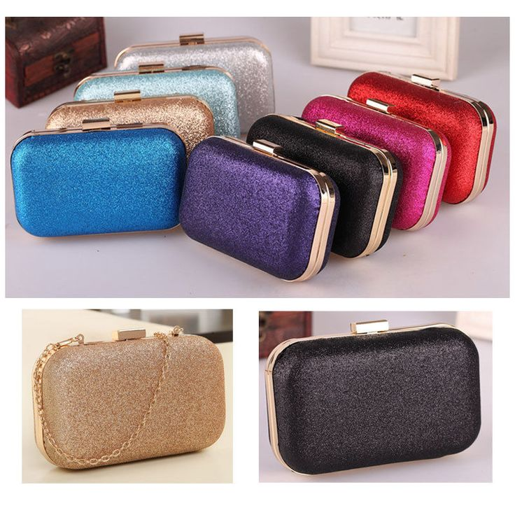 New Fashion Women Clutch Bag Box Evening Party Glitter Chain HandBags Wallet #Unbranded #Clutch
