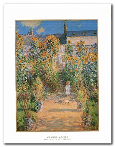 """A good picture is equivalent to a good deed."" Monet planted gardens wherever he lived. When he rented this house at Vétheuil, he made arrangements with the owner to landscape the terraces, which lead down to the Seine. The boy with the wagon is Monet's young son, and on the steps behind him are other members of his extended household. Hurry up! Order this poster for its excellent quality with high degree of color accuracy. Make your order today!"