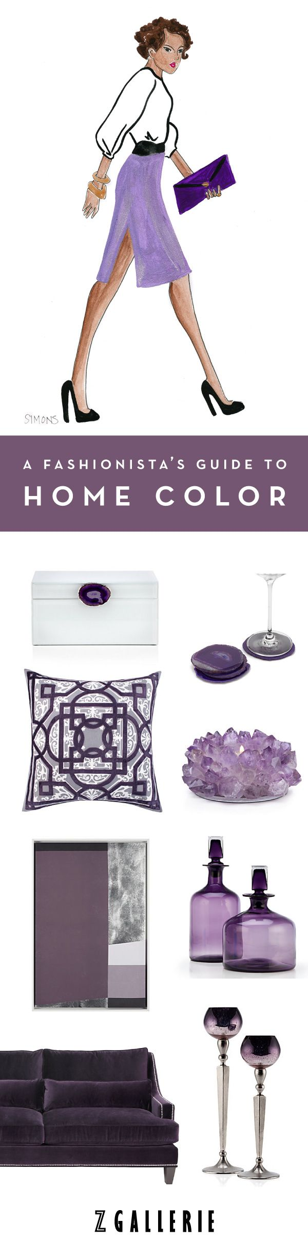 Discover our signature colors of the season and their complementary palettes to help you infuse color into a home you'll love. Explore our Fashionista's Guide to Home Color on zgallerie.com. Fashion illustrations by Andrea Michelle Simons.