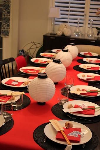 Pick a theme for your hospitality host event! Japanese decor dinner party tablescape (Minus the fortune cookies because they are NOT Japanese!)