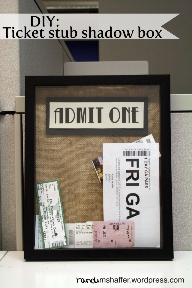 $12 of materials from JoAnn Fabrics! DIY ticket stub shadow box. Perfect anniversary gift for my boyfriend. He loved it!