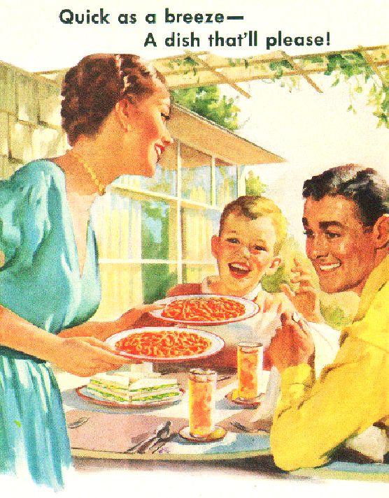 Quick as a breeze - A dish that'll please!~ 1952 Franco American Spaghetti ad.