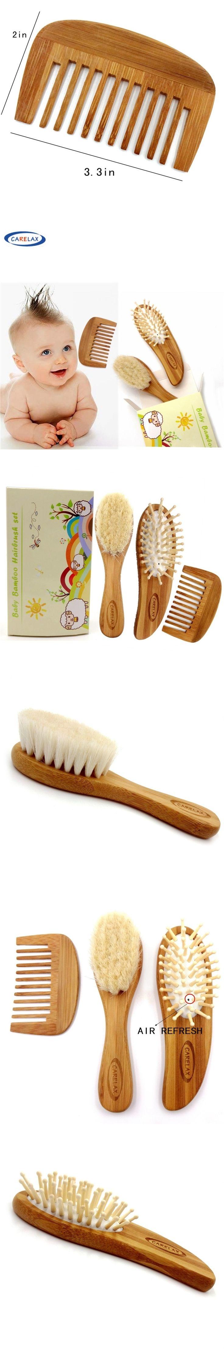 2017 Carelax Wooden Baby Hair Brush and Hair Brush Set  Natural Goat Hair Soft Bristles-Eco Bamboo Comb- Perfect Baby Brush Set