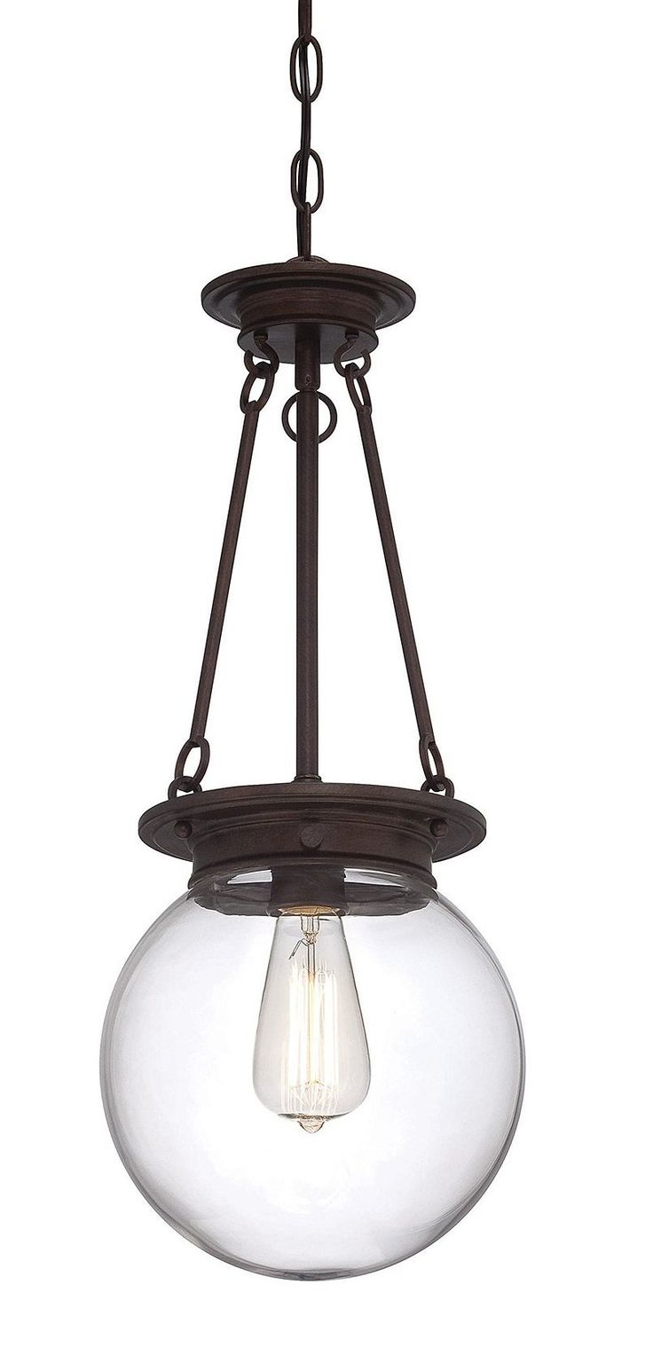 Savoy House Lighting 7-3300-1-28 Casual Lifestyles 1 Light Foyer Pendant and Clear Glass Shade, Oiled Burnished Bronze Finish